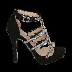 Sandali neri in microfibra, tacco 12,50 cm, Scarpe, 152150112MFNERO035, 001a