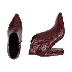 Ankle boots bordeaux stampa vipera, tacco 9 cm , Primadonna, 164916101EVBORD036, 003 preview
