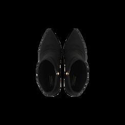 Tronchetti neri drappeggiati, tacco 9 cm, Scarpe, 120381116MFNERO, 004 preview