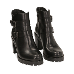 Botas biker de piel en color negro, tacón 8,50 cm , Primadonna, 167723829PENERO036, 002a