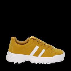 Dad shoes gialle in microfibra stile vintage Seventies, Scarpe, 130101211MFGIAL035, 001a