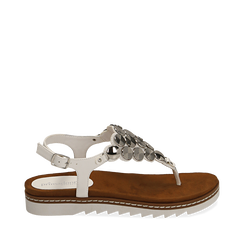 Sandali infradito bianchi in eco-pelle , Chaussures, 154927051EPBIAN035, 001a