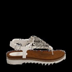 Sandali infradito bianchi in eco-pelle , 154927051EPBIAN035, 001a