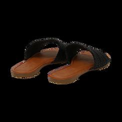 Mules flat nere in eco-pelle intrecciata, Primadonna, 133600110EINERO036, 004 preview