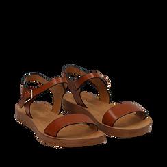 Sandali flat cuoio in eco-pelle, Primadonna, 112200341EPCUOI038, 002a