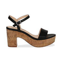 Sandali neri in eco-pelle, tacco in sughero 9 cm , Saldi Estivi, 138402256EPNERO036, 001 preview