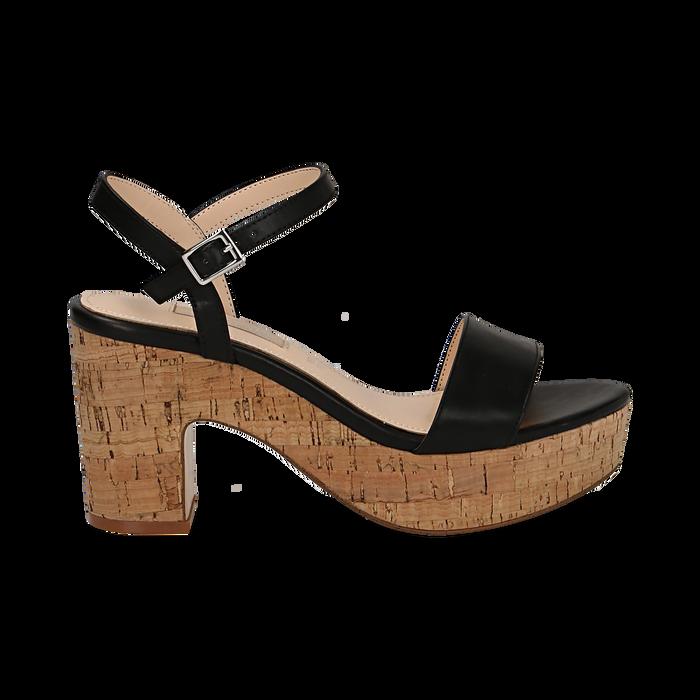 Sandali neri in eco-pelle, tacco in sughero 9 cm , Saldi Estivi, 138402256EPNERO036