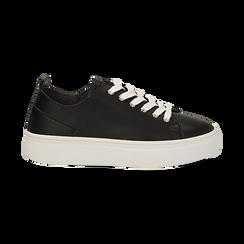 Sneakers nere in eco-pelle, Scarpe, 132500778EPNERO036, 001 preview