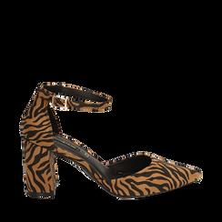Décolleté zebrate in microfibra, tacco 8 cm, Primadonna, 164942312MFZEBR036, 001a