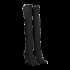 Stivali sopra il ginocchio neri in lycra, tacco 10 cm, Scarpe, 122187852LYNERO, 002 preview