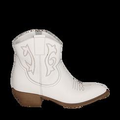 Santiags blanches en cuir, talon 4 cm, Chaussures, 157732901PEBIAN038, 001a