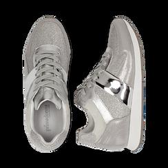 Sneakers glitter argento con dettaglio mirror, Scarpe, 132899414GLARGE036, 003 preview