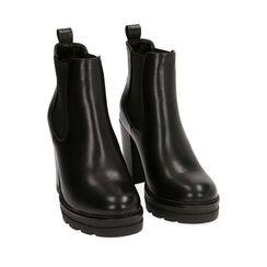 Chelsea boots neri, tacco 9 cm , Primadonna, 160622452EPNERO036, 002a