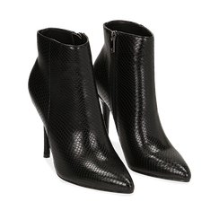 Ankle boots neri effetto snake, tacco 11 cm , Stivaletti, 142182015EVNERO035, 002a