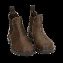 Chelsea boots testa di moro in pelle, Stivaletti, 14D500564PEMORO035, 002a
