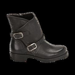 Biker boots neri con fibbie in eco-pelle, Stivaletti, 140721051EPNERO, 001 preview