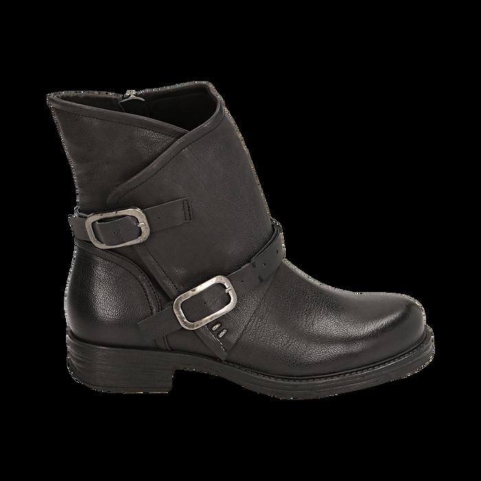 Biker boots neri con fibbie in eco-pelle, Stivaletti, 140721051EPNERO