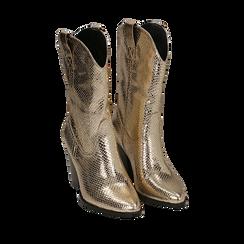 Botas camperas de ecopiel estampado de serpiente en color dorado, tacón 8 cm, Zapatos, 151198105EVOROG036, 002a