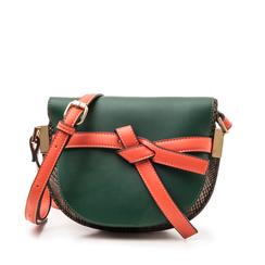 Borsa piccola verde in eco-pelle con dettagli in tweed, Borse, 142406448EPVERDUNI, 001a