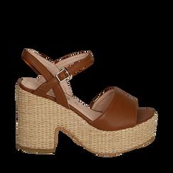 Sandali cuoio in eco-pelle con plateau, tacco 11 cm , Saldi Estivi, 133401986EPCUOI035, 001a