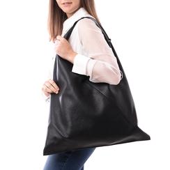 Hobo bag nera in eco-pelle, Borse, 141918028EPNEROUNI, 002 preview