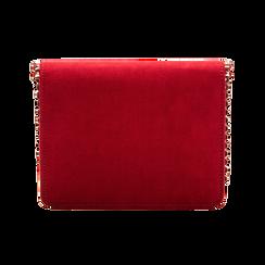 Pochette con tracolla bordeaux in microfibra scamosciata, profili mini-borchie, Borse, 123308852MFBORDUNI, 002 preview