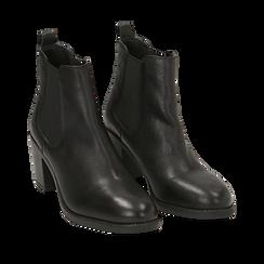 Ankle bottes en cuir noir, talon 4,50 cm, Primadonna, 169495750PENERO036, 002a