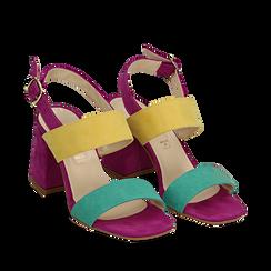 Sandalo multicolor in microfibra, tacco 8 cm, Sandali con tacco, 136100005MFVEGI039, 002a