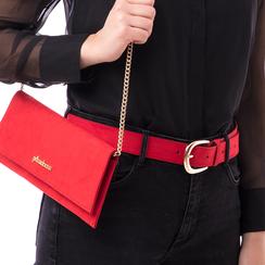 Cintura rossa in microfibra, Abbigliamento, 144045701MFROSSUNI, 002a