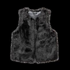 Smanicato eco-fur nero, Saldi, 12B400302FUNERO3XL, 001a