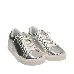Sneakers argento in laminato, Sneakers, 152621201LMARGE035, 002a