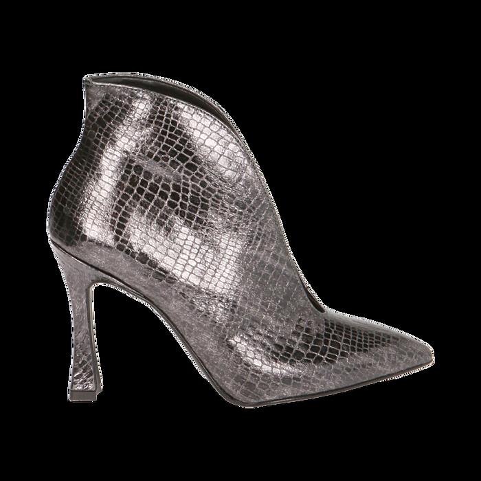 Ankle boots canna di fucile laminato, tacco 9,5 cm , Primadonna, 165200231LMCANN035