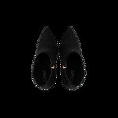 Tronchetti neri scamosciati, tacco stiletto 8 cm, Scarpe, 124895652MFNERO035, 004