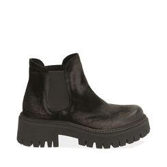 Chelsea boots neri in camoscio, tacco 5,5 cm , Primadonna, 187204438CMNERO035, 001a