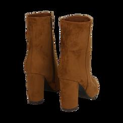 Ankle boots cuoio in microfibra, tacco 9,50 cm , Primadonna, 163026508MFCUOI037, 003 preview