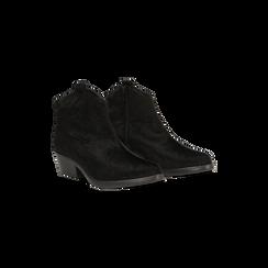 Stivaletti camperos neri in cavallino, tacco 4,5 cm, 12A403988CVNERO036, 002