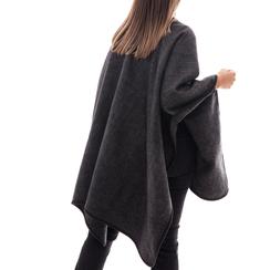 Poncho grigio in tessuto , Abbigliamento, 14B400006TSGRIGUNI, 002 preview