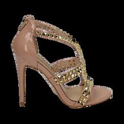 Sandali borchiati nude in vernice, tacco 11,50 cm, OUTLET, 152100920VENUDE038, 001 preview