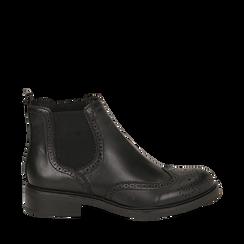 Chelsea boots neri in eco-pelle con lavorazione Duilio, Stivaletti, 140618206EPNERO035, 001a