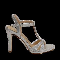 Sandalo argento in laminato, tacco 10,50 cm, Sandali con tacco, 132127402LMARGE036, 001a