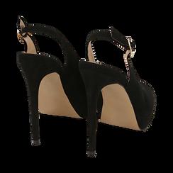 Escarpins noir en microfibre à bout ouvert, talon 12 cm , Chaussures, 152182185MFNERO038, 004 preview