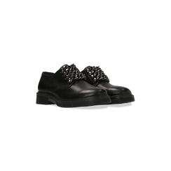 Stringate flat mannish nere in vera pelle, Primadonna, 127710812VINERO036, 002
