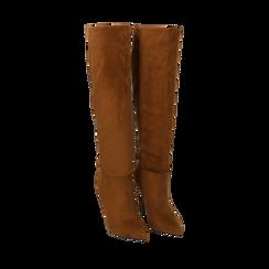 Stivali cuoio in microfibra, tacco 10,50 cm , Primadonna, 162146862MFCUOI036, 002a