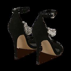 Sandali neri in microfibra con pietre, tacco 11,50 cm, OUTLET, 152101028MFNERO035, 004 preview
