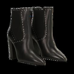Tronchetti neri in vera pelle con mini-borchie, tacco 10 cm, Primadonna, 12D614310VINERO036, 002a