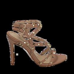 Sandali borchiati nude in eco-pelle, tacco 10,50 cm, Primadonna, 152131515EPNUDE035, 001a
