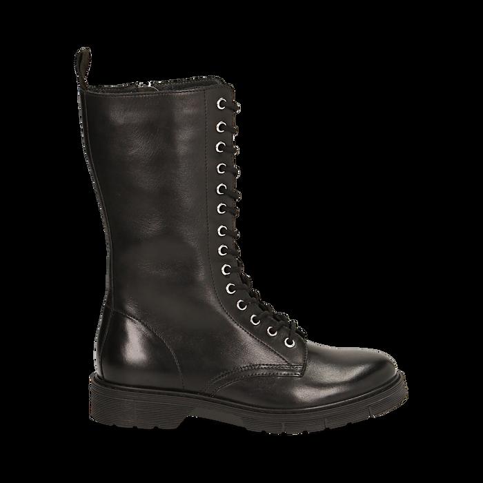 Botas militares de piel en color negro, Primadonna, 167710810PENERO036