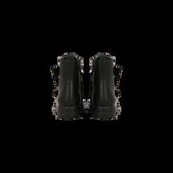 Stivaletti Biker neri con cinghie e fibbie frontali, tacco basso, Primadonna, 122881051EPNERO, 003 preview