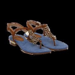 Sandali infradito flat azzurri in microfibra con catenelle, Scarpe, 134909952MFAZZU036, 002 preview