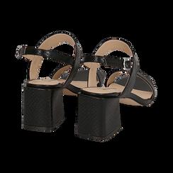 Sandali neri stampa pitone, tacco 6,50 cm, Primadonna, 152790111PTNERO036, 004 preview